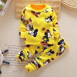 Wholesale Wholesale Velvet Pajamas - Winter Kids Pajamas Girls Long Sleeve Pajamas sets T-shirt+pants 2 pieces Warm Velvet Clothing For 1~5 Years Kids