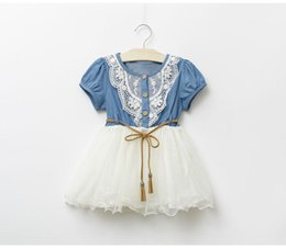 Wholesale Denim Shorts For Kids - New brand princess baby girl dresses Lace yarn denim skirt for girls summer children clothes kids party prom dress infant bubble tutu skirts