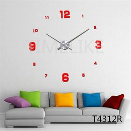 Wholesale Wholesale Wall Clock Hands - Wholesale- DIY Large Wall Clock Living Room Decor 3D Mirror Wall Stickers Long Clock Hands Unique Wall Mounted Time Clocks