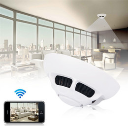 Wholesale portable wireless video camera - 32GB 1080P Smoke Detector Style Camera WiFi Wireless IP Camera Mini DVR Nanny Cam Video Recorder Portable Security Camcorder