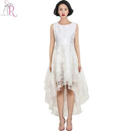 Weiße Spitze Floral Layered Sleeveless Rundhals Kleid High Low Hem 2016 Frauen Frühling Sommer Neuheit Designer Frauen ELegant Wear von Fabrikanten
