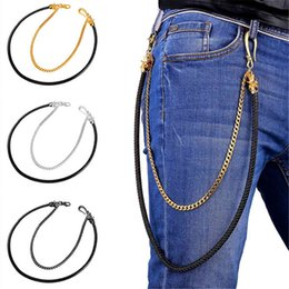 Wholesale Gothic Black Chain - U7 Multilayer Hip-Hop Punk Jeans Waist Chain Gold Platinum Black Gun Plated Leather Cool Skull Trousers Chain Metal Biker Wallet Key Gothic