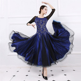 Wholesale Tango Dresses Competition - Sexy strapless dress lace women modern dance waltz Tango Foxtrot quickstep costume competition clothing standard ballroom dance skirt