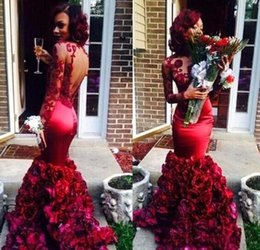 Wholesale Light Yellow Rose Petals - Burgundy Mermaid Prom Dresses With Floral Rose Skirt Lace Long Sleeve Backless Formal Evening Gowns Pageant Dress