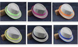 Wholesale Tall Casual Dress - 6 designs Fashion Straw Panama Fedora Caps Solid Dress Hats Stylish Spring Summer Beach Sun Hat D815