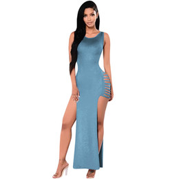 Wholesale Cut Out Maxi - Women Long Sexy Bandage Dress Summer Sleeveless O Neck Cut Out Bodycon Club Dress Hollow Out Split Side Package Hip Maxi Dresses