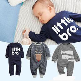 Wholesale Sleepsuit Children - INS baby autumn outfits infant boys cotton rompers children autumn outfits baby letter printed sleepsuit infant baby spring autumn jumpsuits