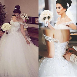 Wholesale Ballgown Wedding Dress Sweep Train - 2016 Charming Ballgown Wedding Dresses Off-Shoulder Sweetheart Applique Flowers Crystals Beads Floor Length White Lace-up Bridal Gown