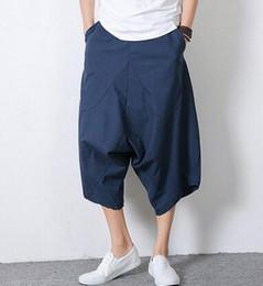 Wholesale Flax Pants M - Wholesale-Breathable summer fashion men flax pants 2016 casual loose mens sport harem pants men trousers linen outdoors Personalized cloth