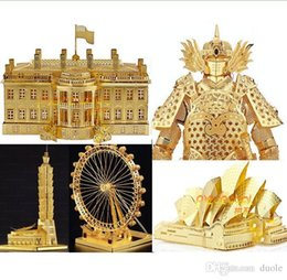 Wholesale Diy Notre Dame - 15 Styles DIY 3D Models Metallic Nano Puzzle Notre Dame DE Paris White House Arc DE triomphe Build Kits no glue required For Chirstmas gift
