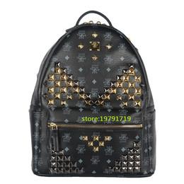 Wholesale Genuine Tote Bag - 2016 Ladies Backpacks Designer Genuine Leather Backpacks Luxury Handbags Women Fashion School Bags Rivet Backpack Style Totes Sale