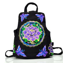 Wholesale Girls Side Bags - National Style One-Sided Embroidery Canvas Backpack Women Handmade Flower Butterfly Shoulder Bag Embroidered Teenager Girls Backpacks