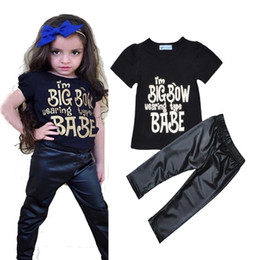 Wholesale Girls Set Wear - Retail Letter Printed Baby Girl Clothing Set I'm BIG BOW Wearing Type BABE Short Sleeve T-shirt + Pants 2016 Summer Brand Baby Girl Clothes