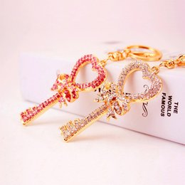 Wholesale Cartoon Pendent - Exquisite Key Heart Butterfly Lovely Fashion Cute Rhinestone Crystal Pendent Keyring KeyChain Women Charm New Jewelry Gift 2222