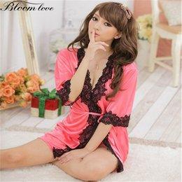 Wholesale Lingerie Babydoll Silk - Wholesale- New Rayon Silk Sexy Lingerie Women Nightwear dresses Babydoll Satin lingerie robe nightgown Sexy nighty E203