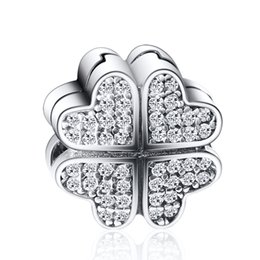 Wholesale christmas cube - Wholesale Lucky Clover With Clear Zircon Charm 925 Sterling Silver European Charms Bead Fit Bracelets Snake Chain DIY Jewelry
