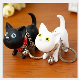 Wholesale Gift Bags Fashion Dolls - Valentine's Day Birthday Christmas Wedding Gifts Cute Cartoon Pussy Cat Doll Keychains Car Mobile Bag Pendants Fashion Lover Couple Keychain