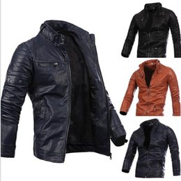 Wholesale Leather Sleeve Jumper - Men Locomotive Coat Leisure Leather Jackets Zipper Casual Jumper Winter Outerwear Fashion Overcoat Top Outerwear Men's Clothing KKA2728