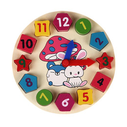 Wholesale Geometry Puzzle - Wooden 12 Number Colorful Puzzle Digital Geometry Clock Baby Educational Wooden Clock Toy Kids Children Toys Gifts