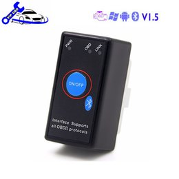 Wholesale Elm327 Fiat - Super mini ELM327 V1.5 Bluetooth KINGBOLEN Power Switch 16Pin OBD2 Code Reader ELM 327 Diagnostic tool Chip PIC18F25K80 ELM327