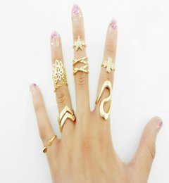 Wholesale Open Clover - 7 pcs set 2016 European Fashion Exaggeration Punk Ring Star Clover Flower Rhinestone Open Rings for Women Girls Party Gold Body Jewelry