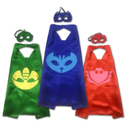 mask action Coupons - PJ MASK Cosplay Baby Pajamas Masked Man Child Cloak 2PCS SET Masks Role-play Cloak Cape Catboy Action Toys For Children