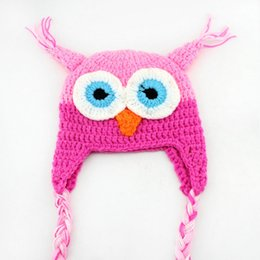 Wholesale Cartoon Crochet Infant Animal Hat - Fashion Cute National Style Cartoon Infant Toddler Handmade Knitted Crochet Multicolor Baby Owl Hat With Ear Flap Animal Photo Cap S6005