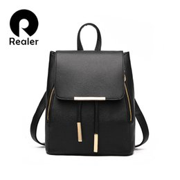 Wholesale Fashion Styles For Teens - Wholesale-New Designer Women Backpack For Teens Girls Preppy Style School Bag PU Leather Backpack Ladies High Quality Black Rucksack