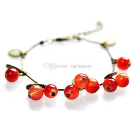 Wholesale Sweet Cherry Bracelet - 1pc Retro Vintage Graceful Beaded Charm Bracelet Sweet Red Cherry Bangle C00457