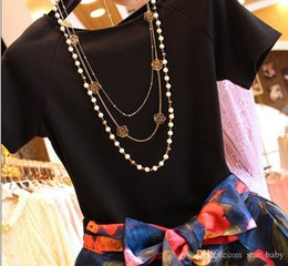 Wholesale Lining Tshirts - 2015 Lady 2pcs Skirt Sets Ball Gown Princess Women Short Sleeve Tshirts Top Flower 2015 LadLong Skirts Outfits Woman Floral Outfit Set D4352