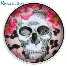 Wholesale Glass Stones Button - newest D02994 Cheaper Newest Design Glass Skull Stone flower style snap button For Women Fit 18 20mm Snap Button Bracelet Jewelry