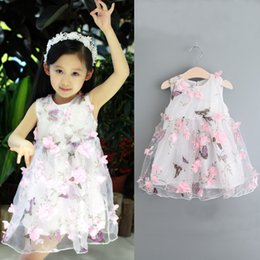 Wholesale children lace vest - PrettyBaby 2016 Summer New Girl Dresses Kids butterfly 3d flower dress toddler baby girl gauze dress Children Princess vest sleeveless Dress