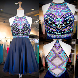 Wholesale Cheap Sweet 16 Gowns - 2015 Navy Chiffon Sweet 16 Dresses Real Images Halter Neck Colorful Beaded Sequins Crystals Cheap Homecoming Gowns with Illusion Back