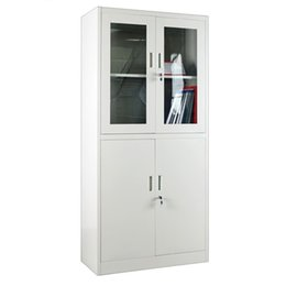 Wholesale A6 Glass - Custom Double Doors Transparent Glass File Cabinet 2 Layer Split Type Multifunction Storage Metal Cabinets Office School Supplies