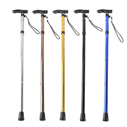 Wholesale outdoor walking hiking trekking stick - Outdoor 4-section Aluminum Alloy Adjustable Canes Camping Hiking Mountaineer Walking Sticks Trekking Pole 6 Colors 2503027