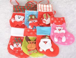 Wholesale Nylon Socks For Children - Cute Christmas Stockings Socks Candy Bag Party Christmas Gifts for Children Decorative Socks Christmas Tree Ornaments Decorations