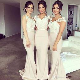 Wholesale Sheer Nude Color Dress - Nude Long Chiffon Bridesmaid Dresses For Bridal Cheap Lace V Neck Sheer Cap Sleeve Sweep Train Mermaid Wedding Guest Dress