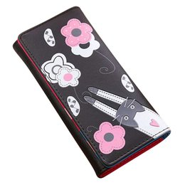 Wholesale Cute Lovely Photos - Wholesale- 2017 New Fashion Women Long Cat Flowers Cute Pu Leather Clutch Wallet Female Function Purse Ladies Lovely Money Phone Bag Feb15