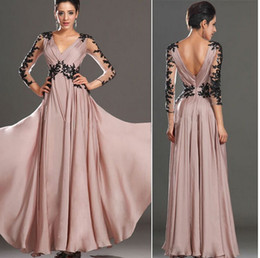 Wholesale Long Sleeved Chiffon Maxi Dress - European and American V-neck long-sleeved lace halter dress nude color dress skirt temperament