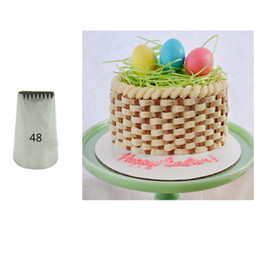 Wholesale Tips 48 - Wholesale- #48 48D Basket Weave Cake Pastry Nozzles Decorating Tips Cupcake Baking Tools Bakeware Supplies KH119