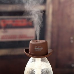 Wholesale Cartoon Cowboy Hats - 2016 USB Mini humidifier cowboy hat cap office household air purification ultrasonic humidifier aromatherapy mist maker diffuser purifier fo