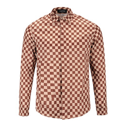 Wholesale Mens Collar Designer Shirt - New Autumn Fashion Italy Luxury Brand Men Clothes Mens Designer Long Sleeve Shirts Medusa Plaid print Shirts Men Casual Business Shirts 3xl