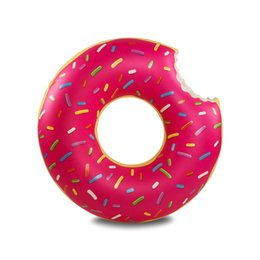 Wholesale Pvc Buoy - Cute Red Brown Swimming Pool Toy Doughnut Inflatable Swimming Ring Life Buoy Swimming Pool Spare Tire PVC Flotador Donut 2PCS