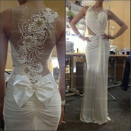Wholesale sexy button front dress - Ivory Prom Dresses Beaded Jewel Shiny Blings Side Split Sexy Back Hollow Court Train Evening Gowns