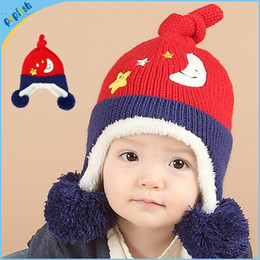 Wholesale Earflap Hat Balls - 20pcs lot New Styles Sweater Children Funny EarFlap Cap Girls Boys Fluffy Baby Pompom Ball Winter Hat