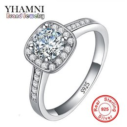 Wholesale Wedding Sets For Brides - YHAMNI Classic Solid Silver Bride Wedding Rings for Women Inlay 1 ct CZ Diamond Engagement Ring 925 Sterling Silver Jewelry MR035
