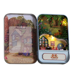 Wholesale Metal Dollhouses - Wholesale- Squirrels Paradise Box theatre secret DIY mini Dollhouse 3D Miniature Lights+Metal box+Dolls+Wooden support+Furniture Decoration