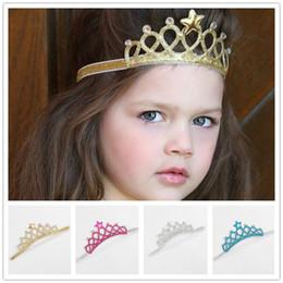 Девушки симпатичные принцесса стразами Корона оголовье звезды hairband детские дети день рождения праздники аксессуары для волос от Поставщики волшебные золотые волосы
