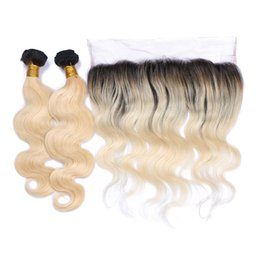 Wholesale Cheap Ombre Hair Weave - 9A Cheap Brazilian 1B 613 Blonde Ombre Human Hair With Frontals 4Pcs Lot Body Wave 3Bundles Ombre Hair With 13x4 Lace Frontal Closure