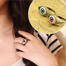 Wholesale Vintage Vampire - Engagement Rings Hot Selling Vintage Retro Europe Punk Gothic Exaggerated Vampire Blue Brown Color Eye Rings For Women